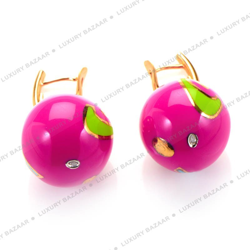 Magenta Enamel Drop Earrings