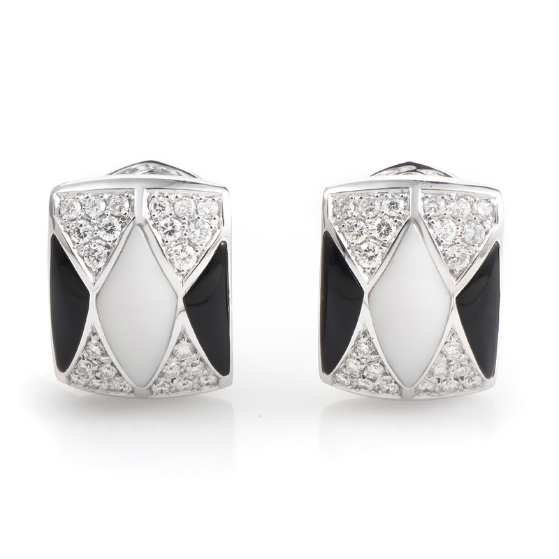 Women's 18K White Gold Onyx & White Agate Diamond Earrings
