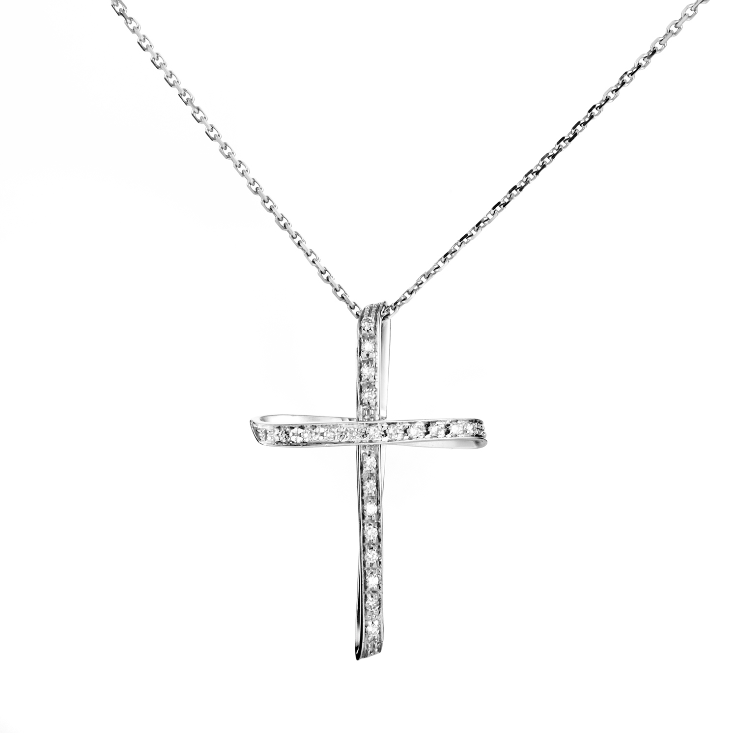 Women's 18K White Gold Diamond Cross Pendant Necklace