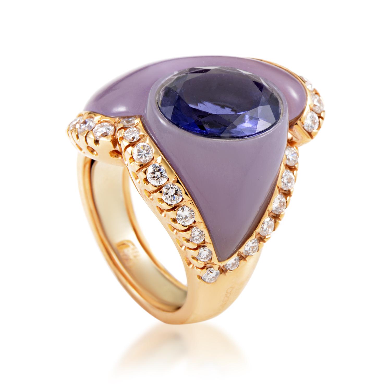 Women's 18K Rose Gold Diamond & Purple Gemstone Cocktail Ring