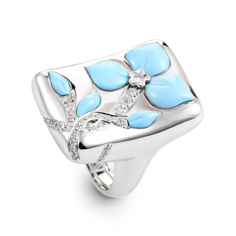 18K White Gold Diamond & Turquoise Flower Ring