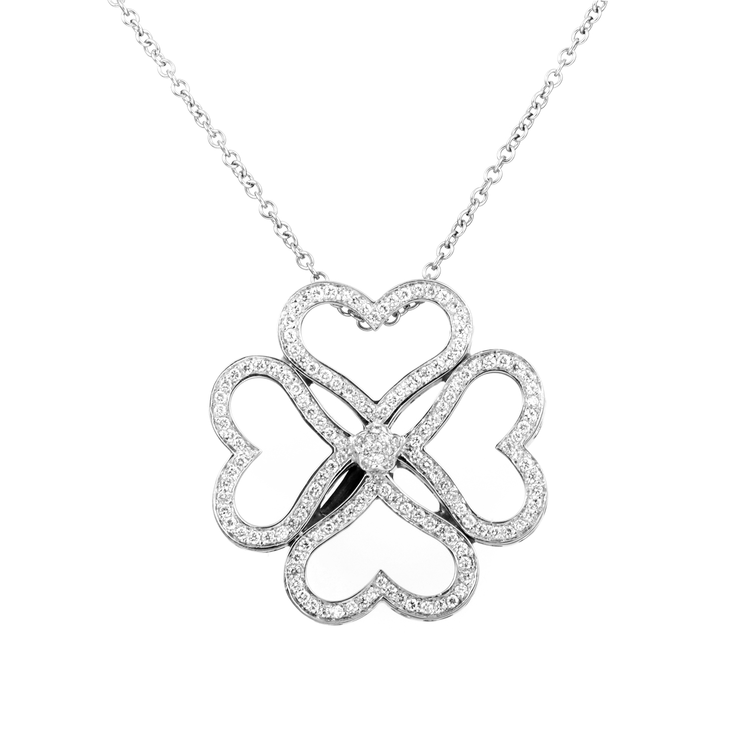 Women's 18K White Gold Diamond Hearts Flower Pendant Necklace