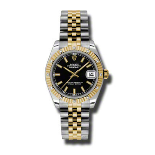 Oyster Perpetual Datejust 31mm Diamond Fluted Bezel 178313 bkij