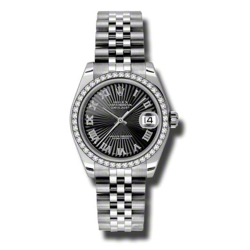Oyster Perpetual Datejust 31mm Diamond Bezel 178384 bksbrj