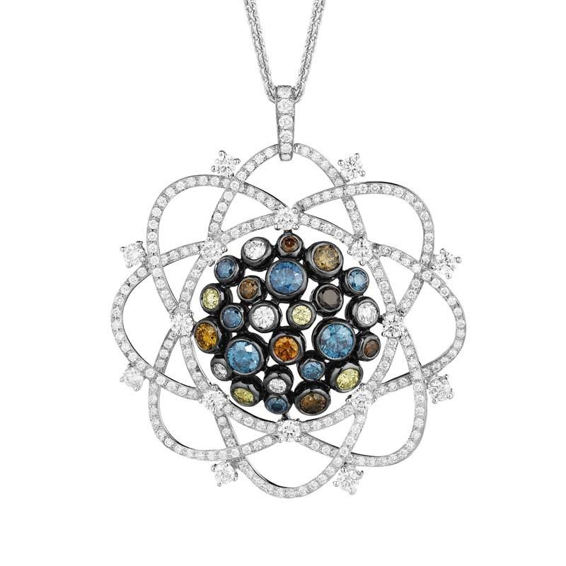 18K White Gold Multi Diamond Galaxy Pendant Necklace