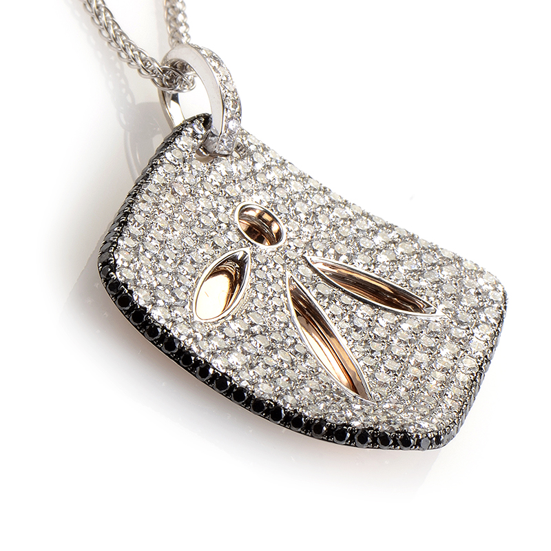 18K White and Rose Gold Diamond Set Leaf Pendant Necklace