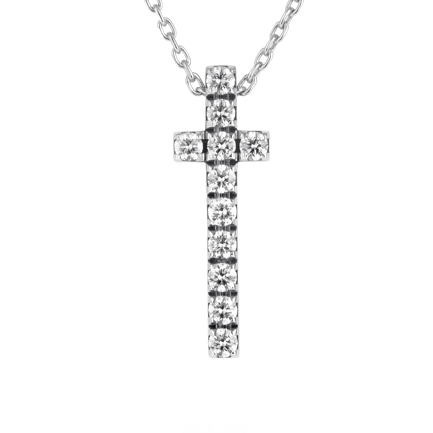 Piaget 18K White Gold Diamond Cross Pendant Necklace