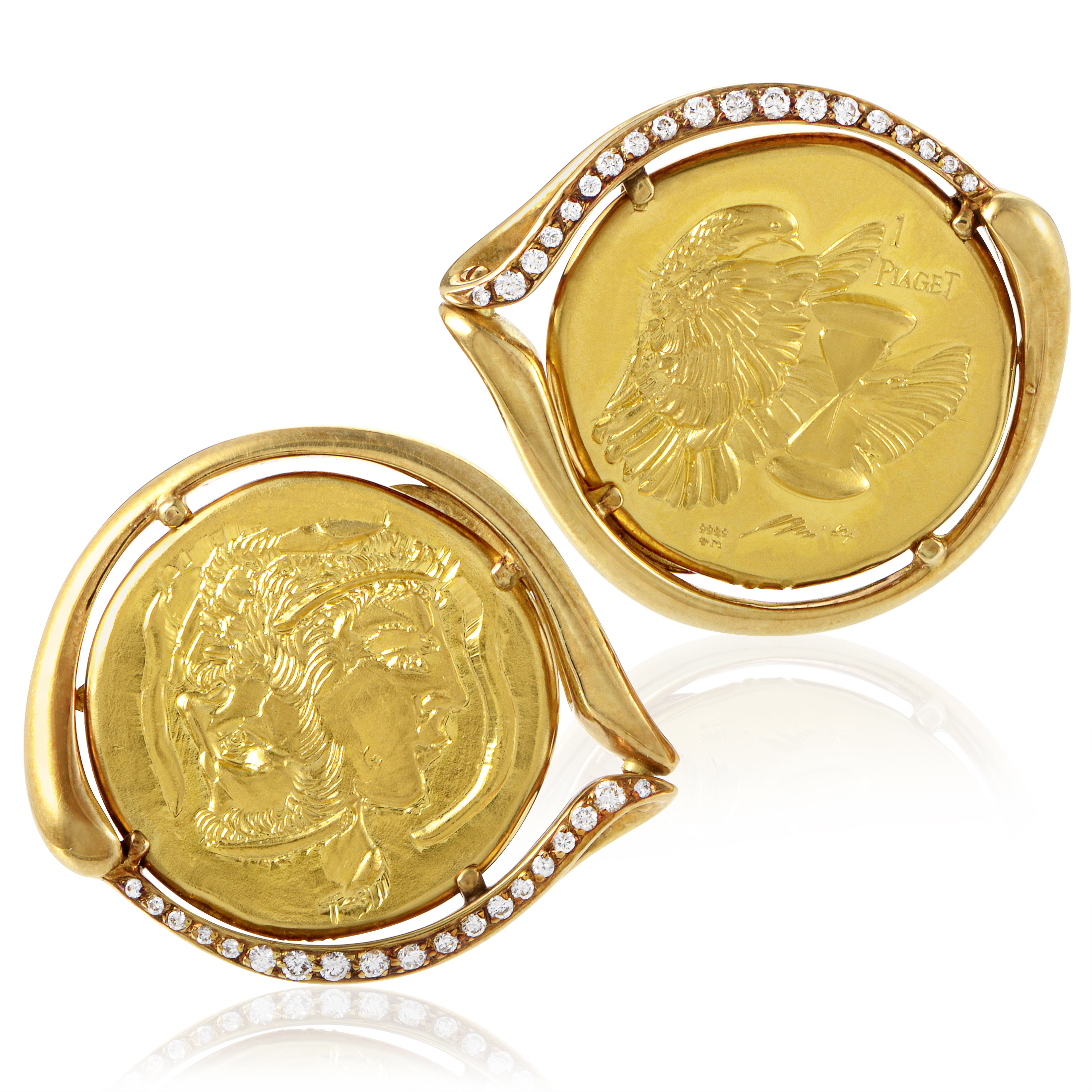 Piaget Men's 18K & 22K Yellow Gold Diamond Coin Cufflinks