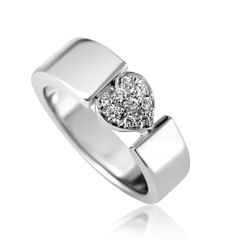 Piaget Juliet Women's 18K White Gold Diamond Pave Heart Ring