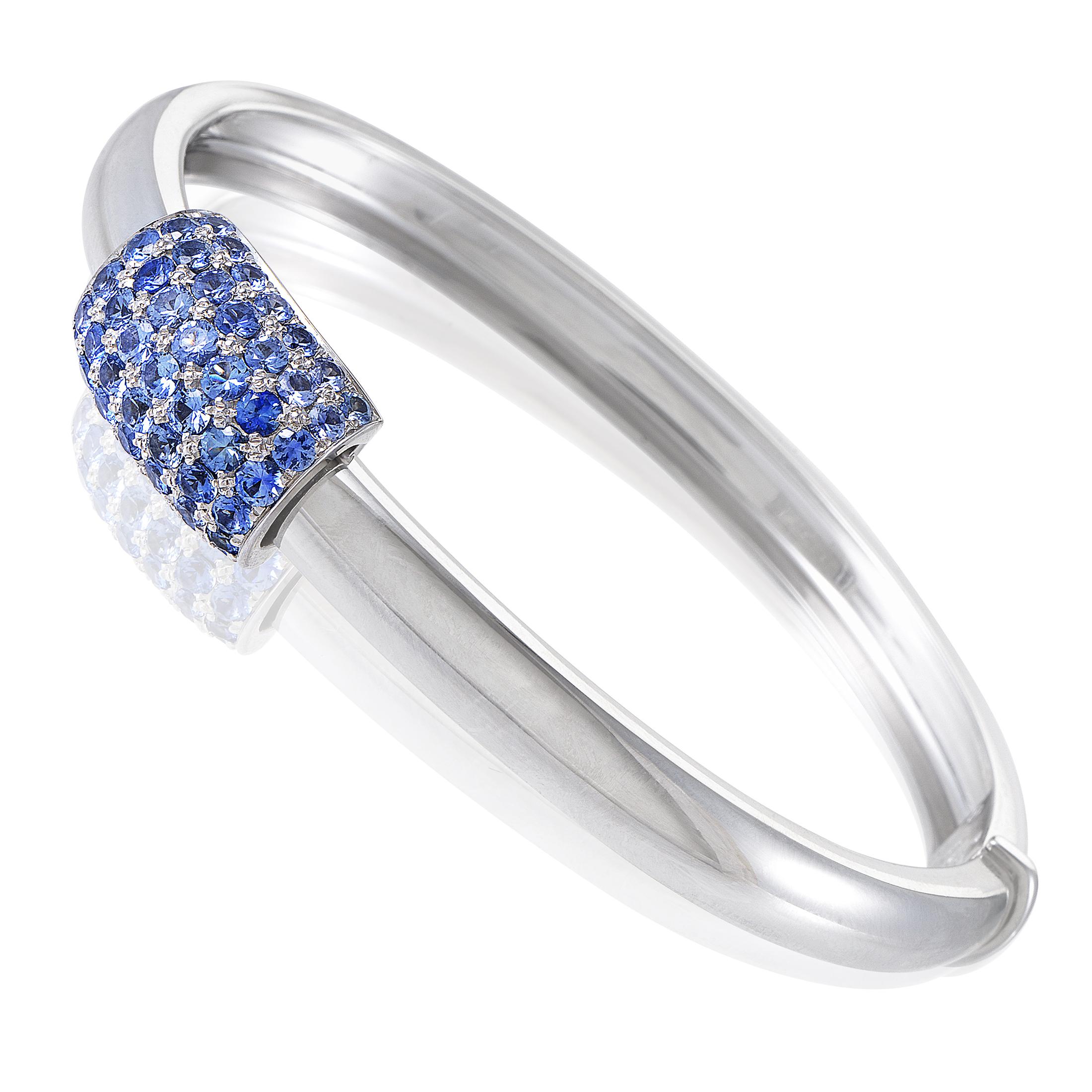 Piaget Women's 18K White Gold Blue Sapphire Bangle Bracelet