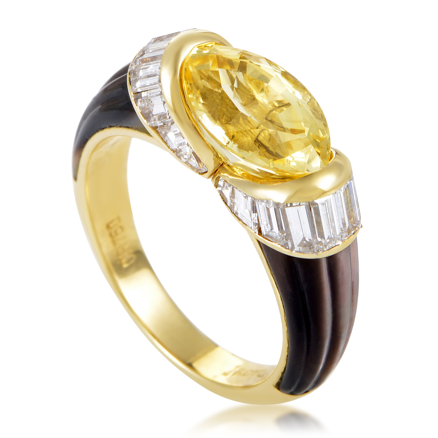 Piaget Women's 18K Yellow Gold Yellow Sapphire & Diamond Mother of Pearl Ring