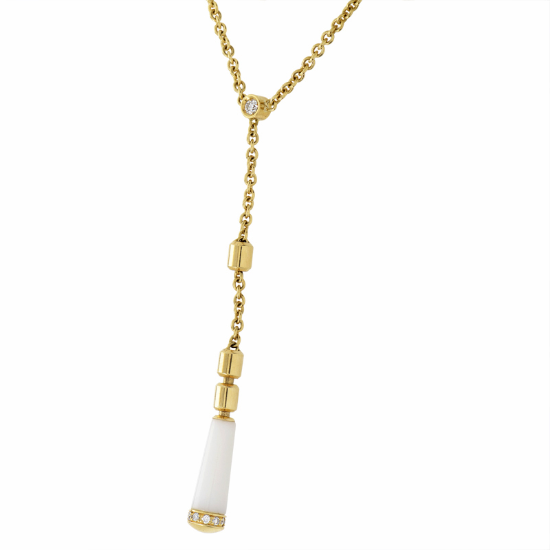 Piaget Women's 18K Yellow White Agate & Diamond Long Pendant Necklace