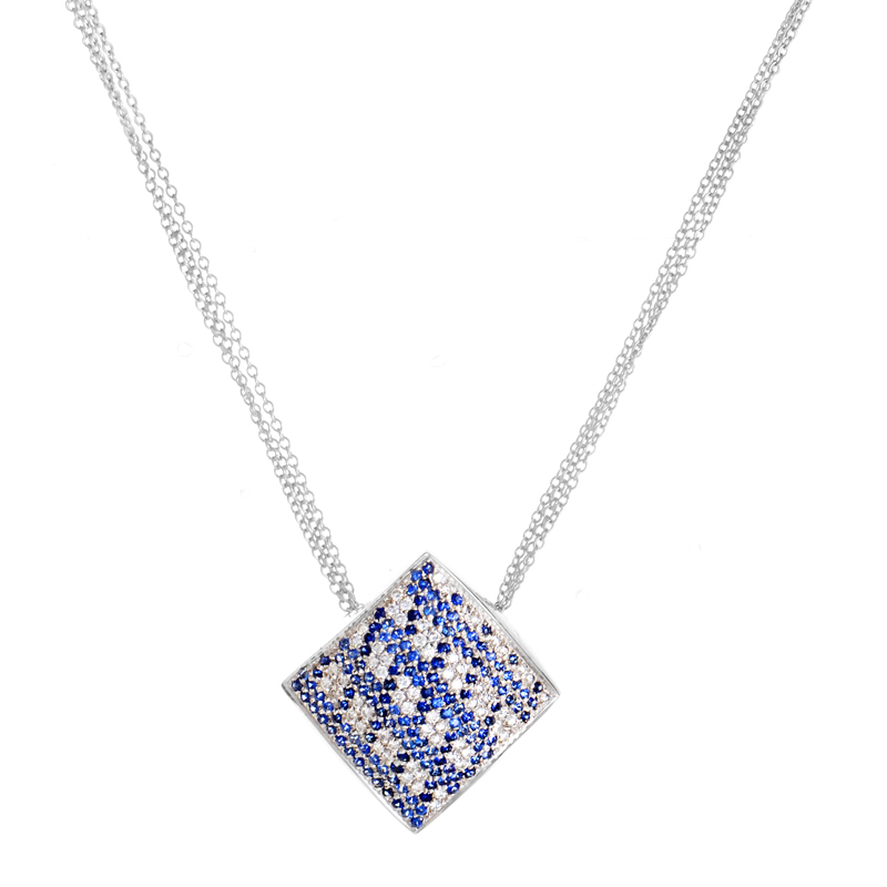 18K White Gold Sapphire & Diamond Pave Pendant Necklace