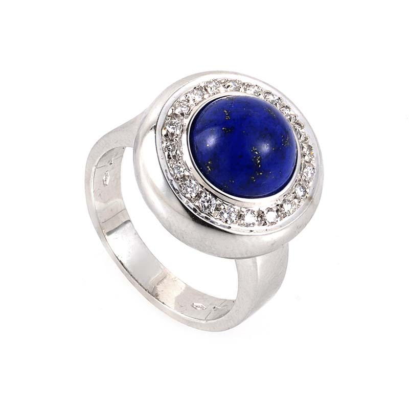 18K White Gold Lapis & Diamond Ring 408-13086