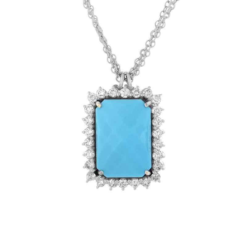18K White Gold Turquoise & Diamond Pendant Necklace
