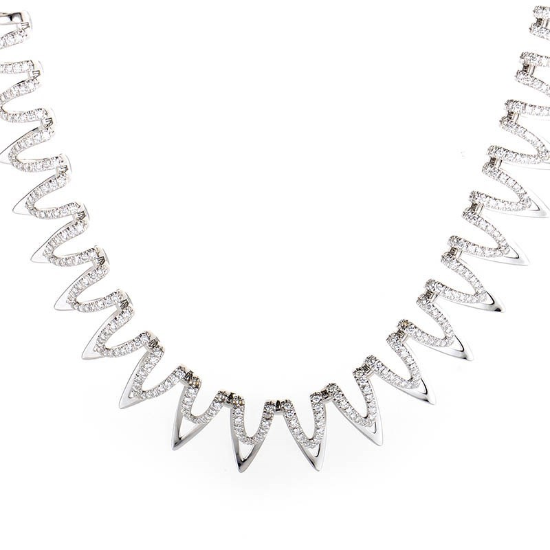 18K White Gold Diamond Double Layer Necklace