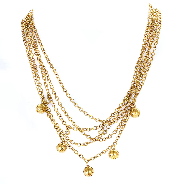 Poiray Women's 18K Yellow Gold Multi-Strand Diamond Necklace