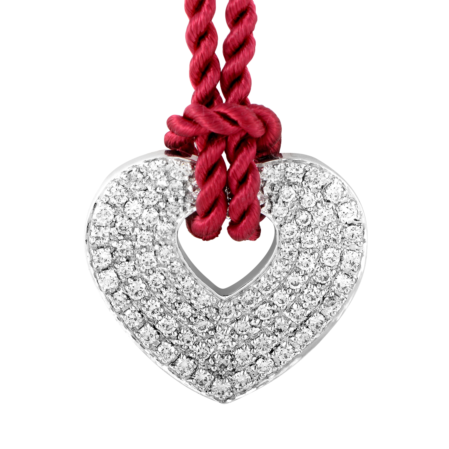 18K White Gold Diamond Pendant & Burgundy Cord Necklace PPC0030RED