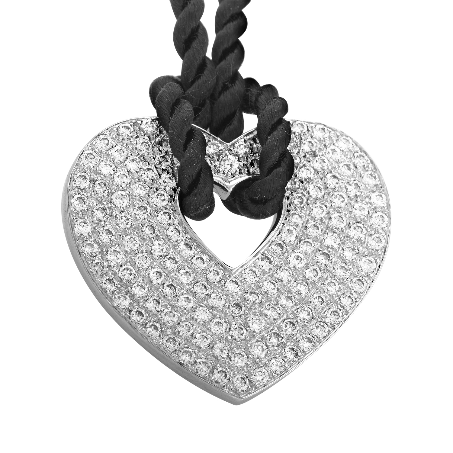 18K White Gold Diamond Pendant & Black Cord Necklace PPC0032BLK