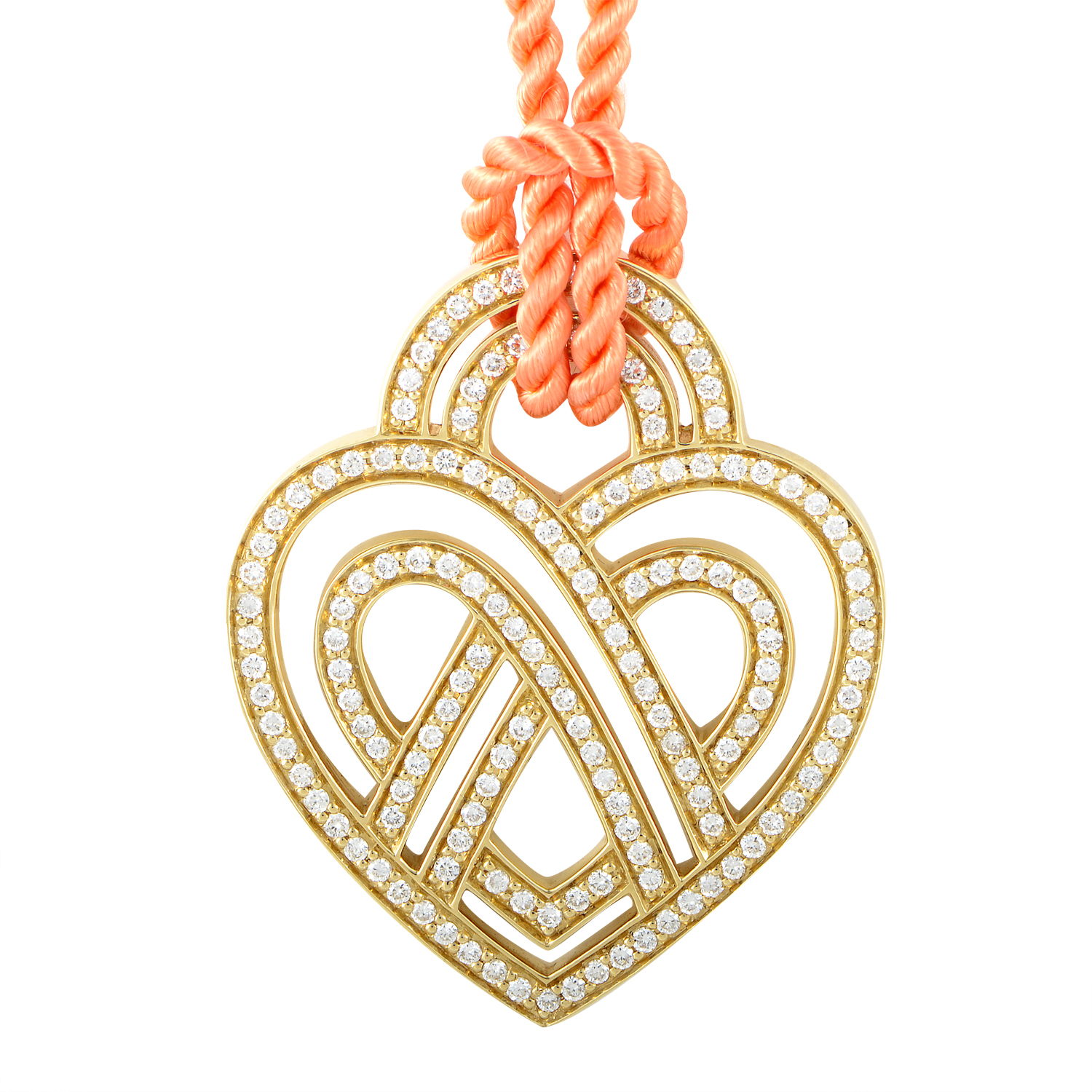 18K Yellow Gold Diamond Heart Pendant & Cord Necklace PPC8554ORG