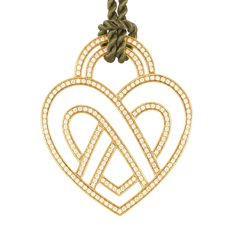 18K Yellow Gold Diamond Heart Pendant & Cord Necklace PPC8654DGRE