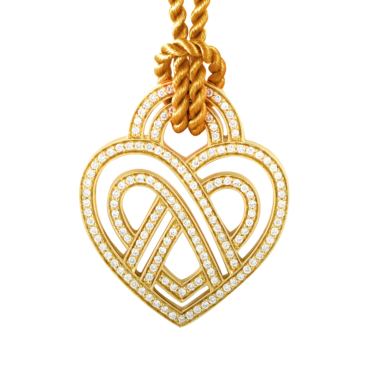 18K Yellow Gold Diamond Heart Pendant & Cord Necklace PPC8654GLD