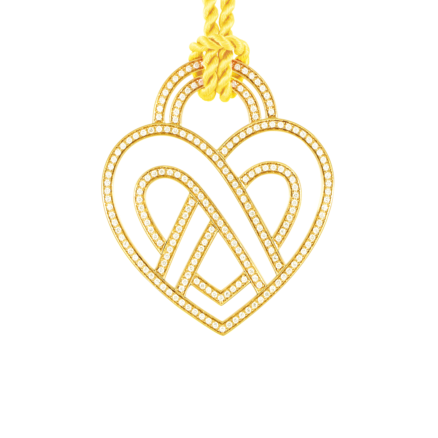 18K Yellow Gold Diamond Heart Pendant & Cord Necklace PPC8654YEL