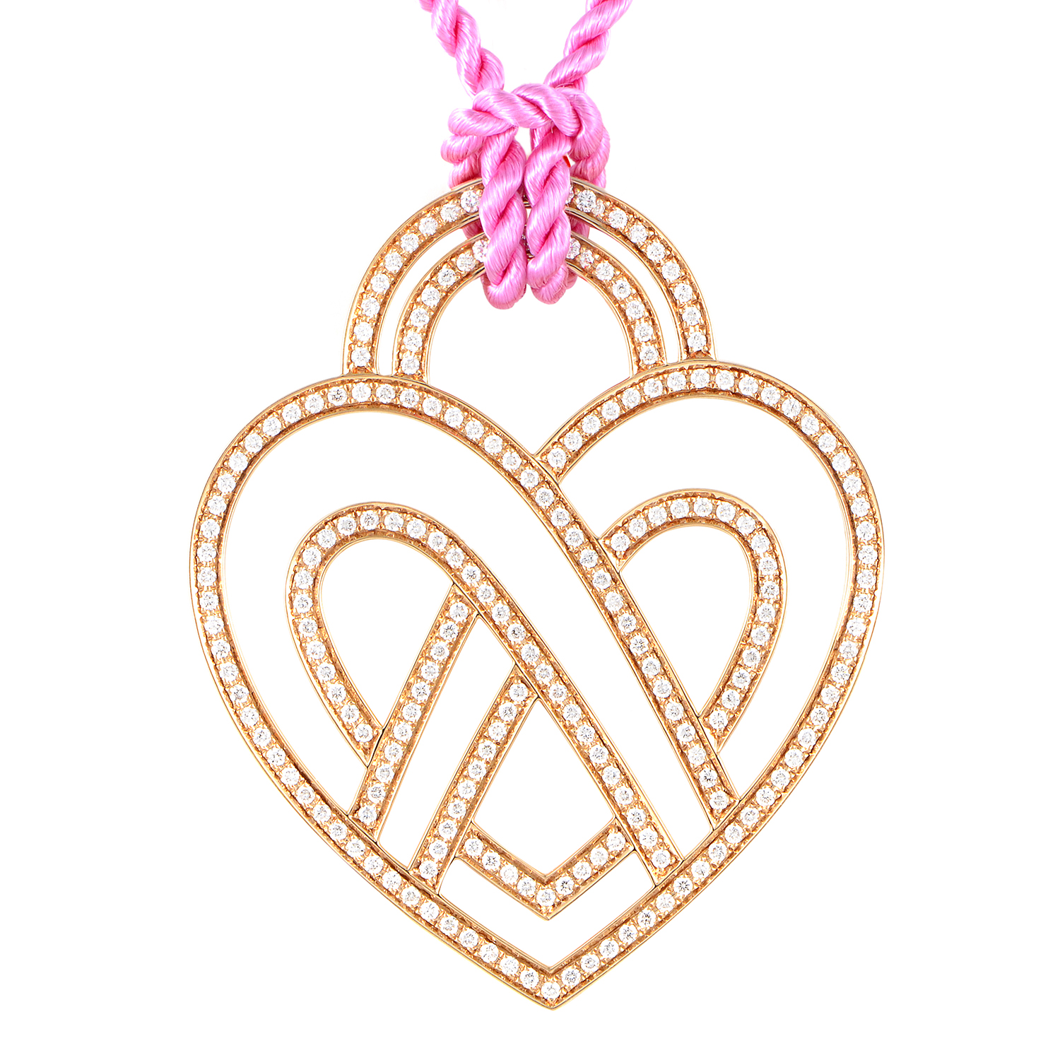 18K Rose Gold Diamond Heart Pendant & Cord Necklace PPC8752PNK