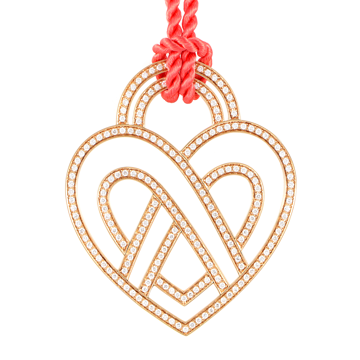 18K Rose Gold Diamond Heart Pendant & Cord Necklace PPC8752RED