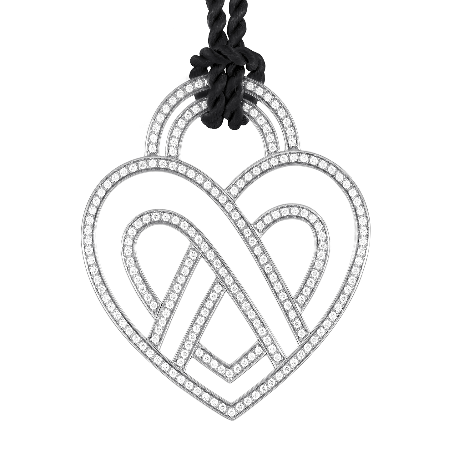 Large 18K White Gold Diamond Heart Pendant & Cord Necklace PPC8952