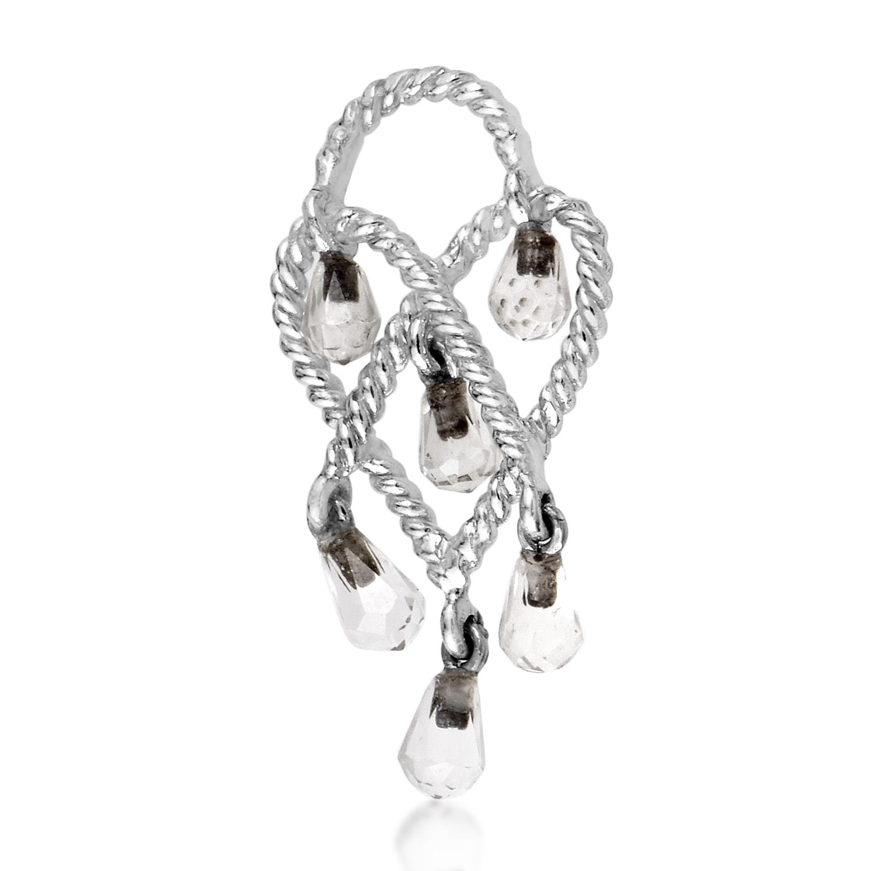 In Love Heart 18K White Gold & Rose Quartz Briolette Pendant PPC9103