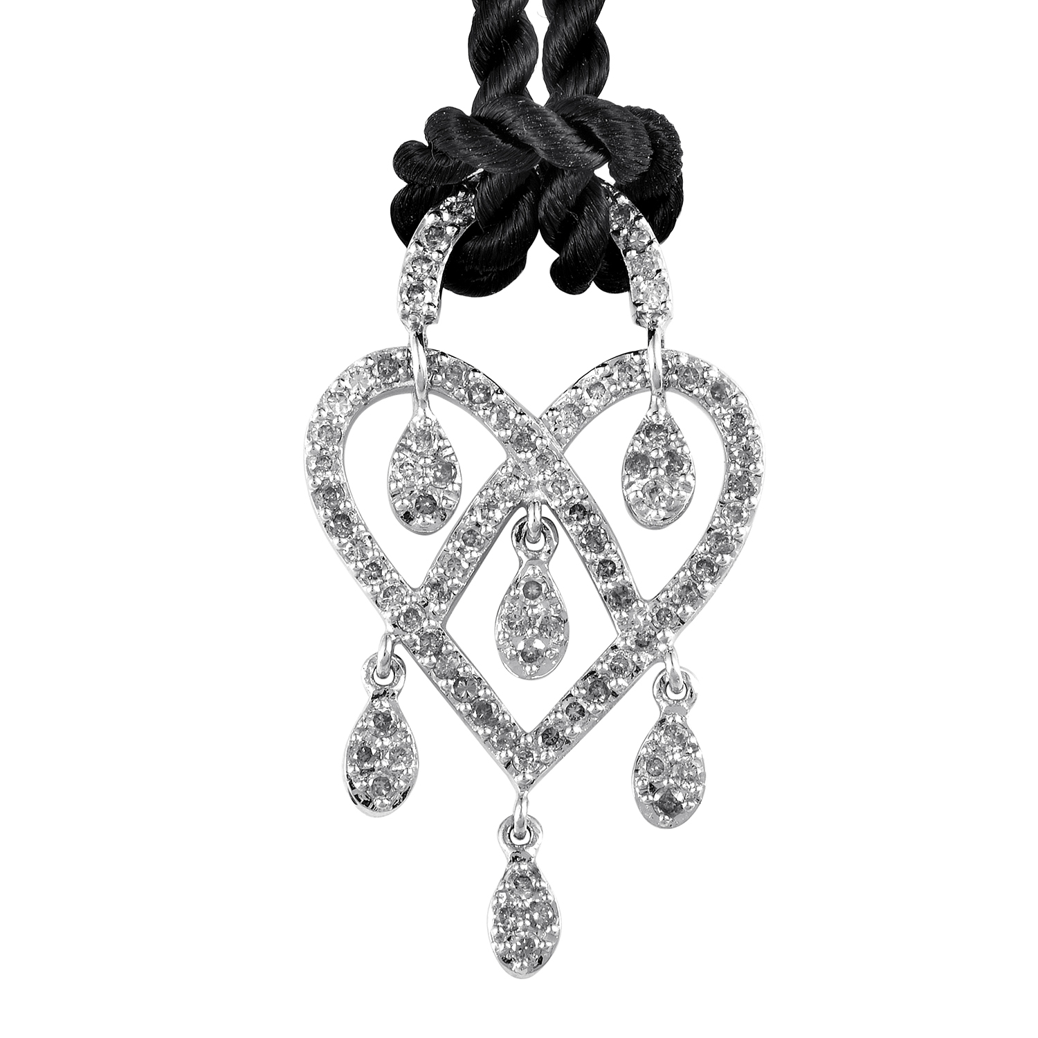 In Love Heart 18K White Gold Diamond Pendant & Cord Necklace PPC9135BLK