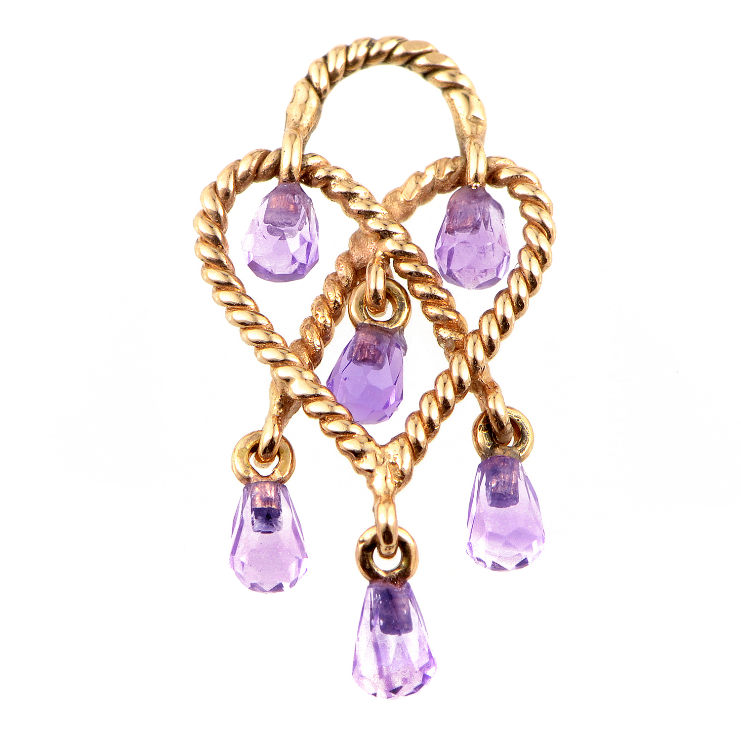 In Love Heart 18K Rose Gold Amethyst Briolette Pendant PPC9201