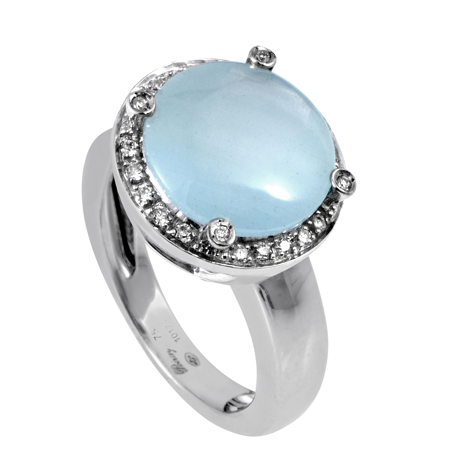 18K White Gold Diamond & Aquamarine Ring PPD2113