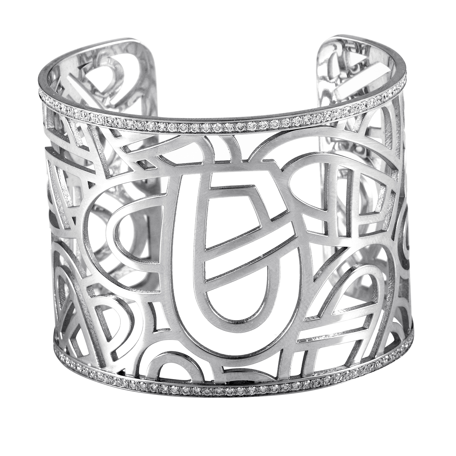 Wire Heart Framework Women's 18K White Gold Diamond Cuff Bracelet