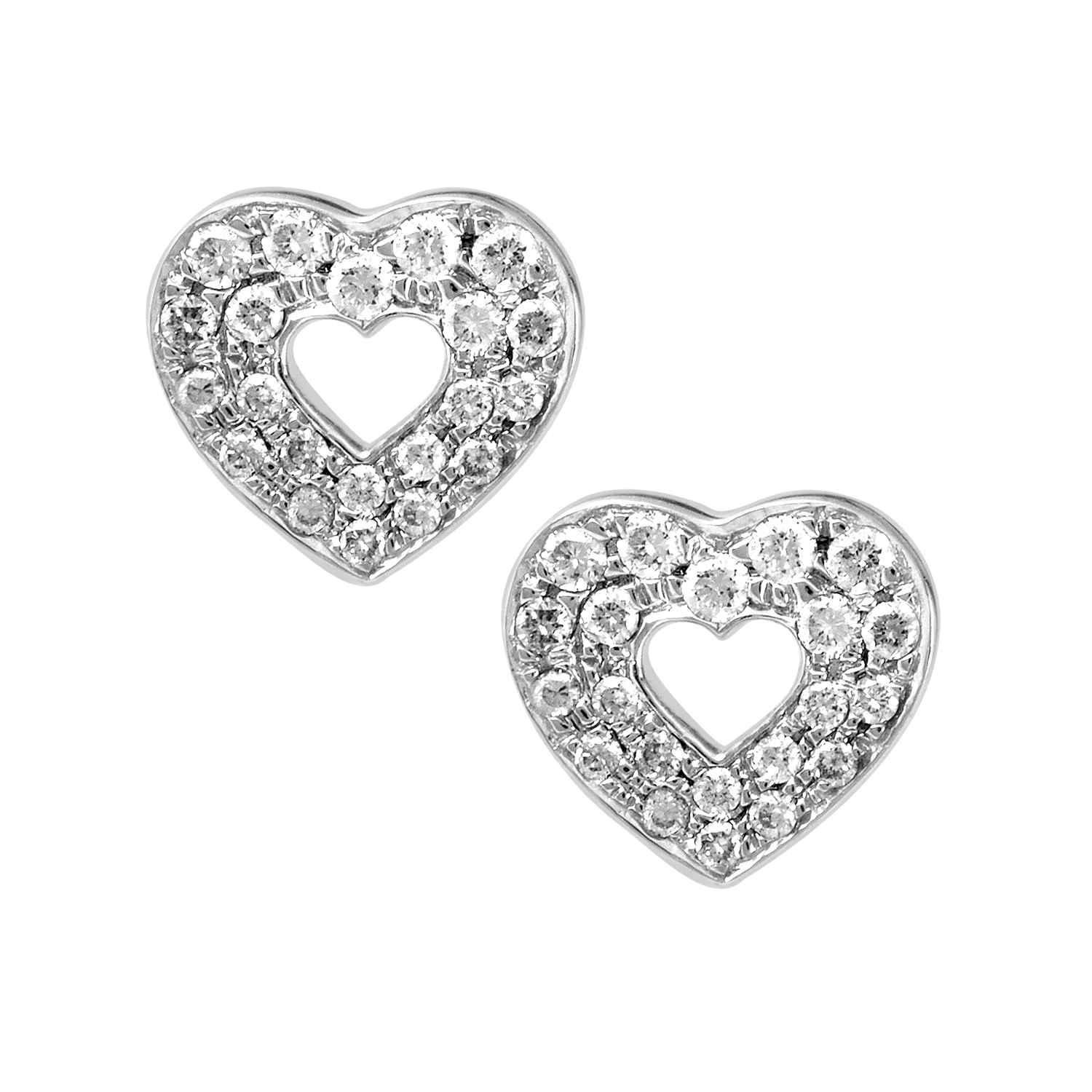 18K White Gold Diamond Pave Heart Stud Earrings PPH0108
