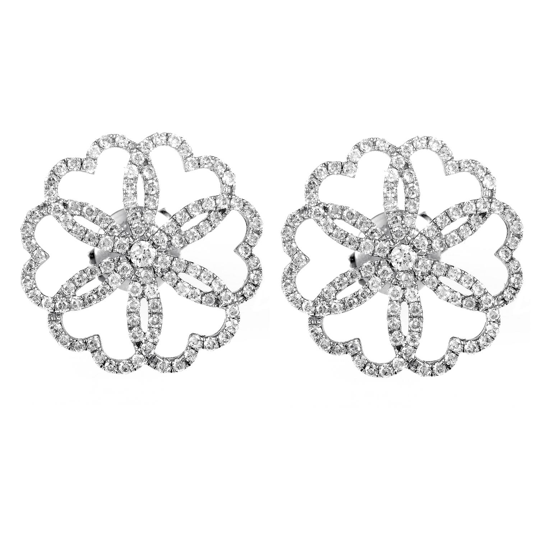 18K White Gold Diamond Flower Earrings PPH0120