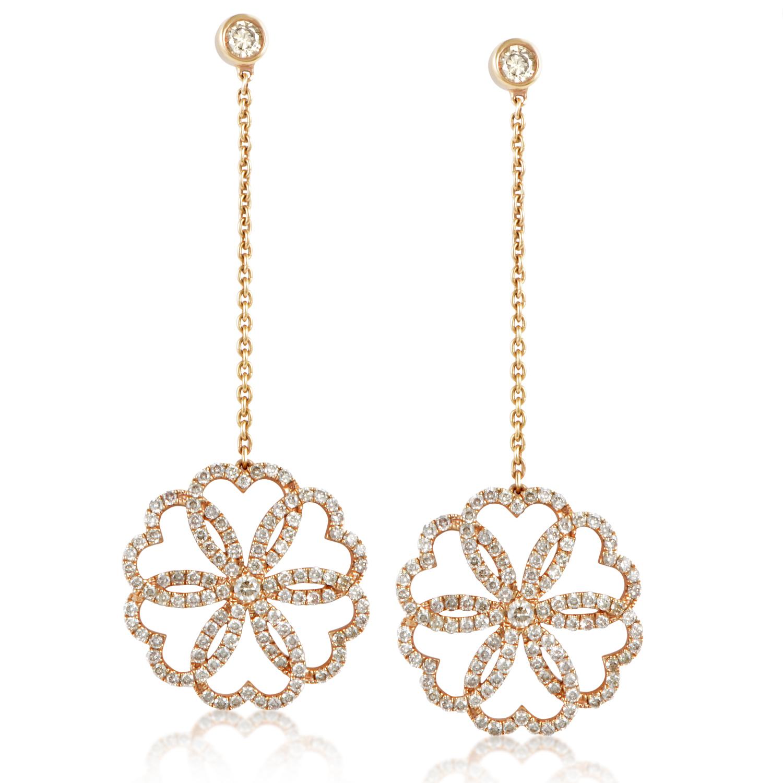 18K Rose Gold Rosette Drop Diamond Earrings PPH0131