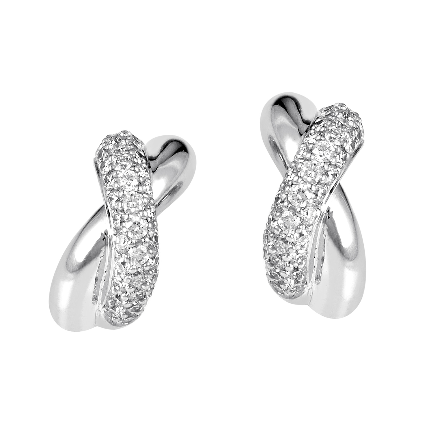 Criss-Cross 18K White Gold Diamond Earrings PPH1110