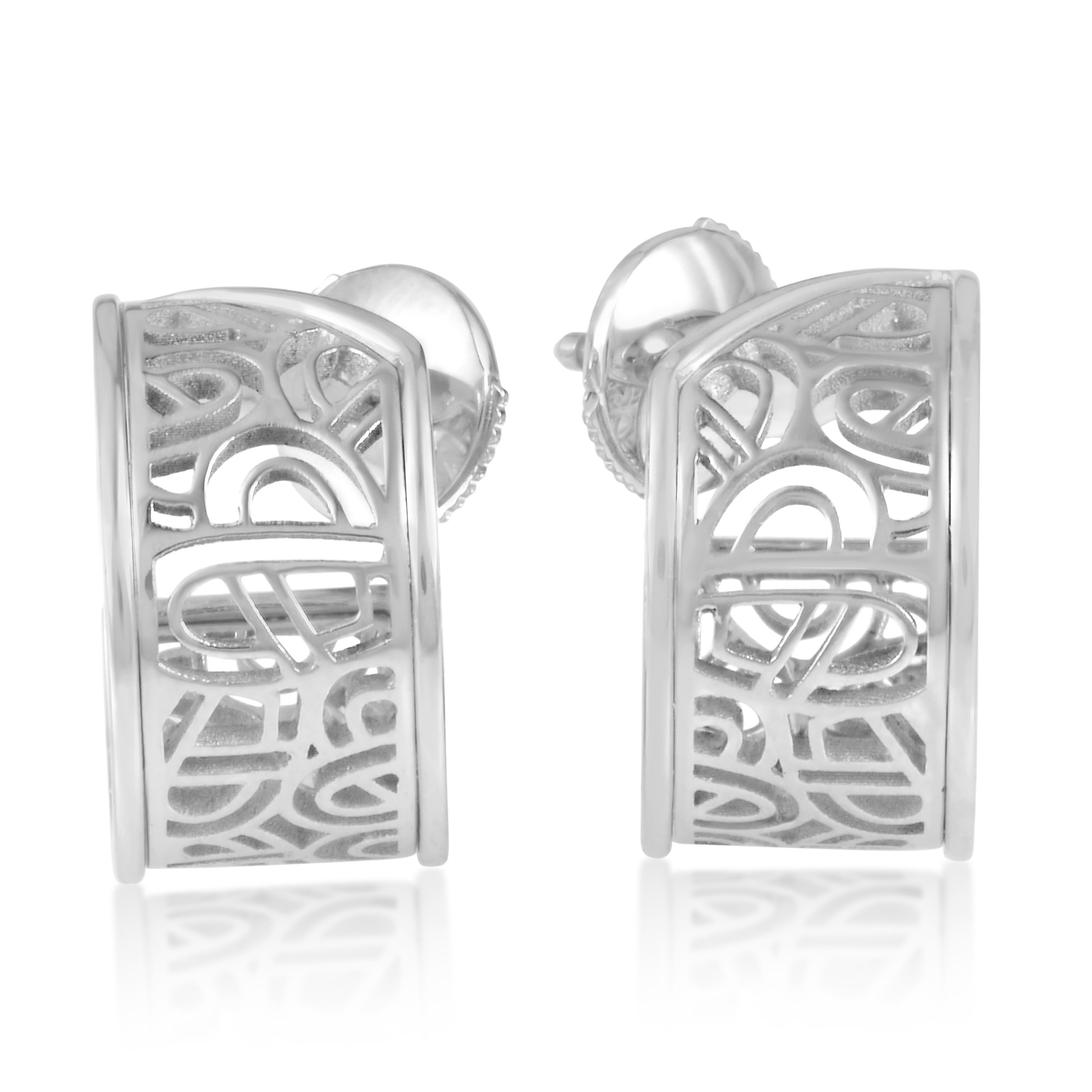 Wire Heart Framework 18K White Gold Huggie Earrings PPH8810