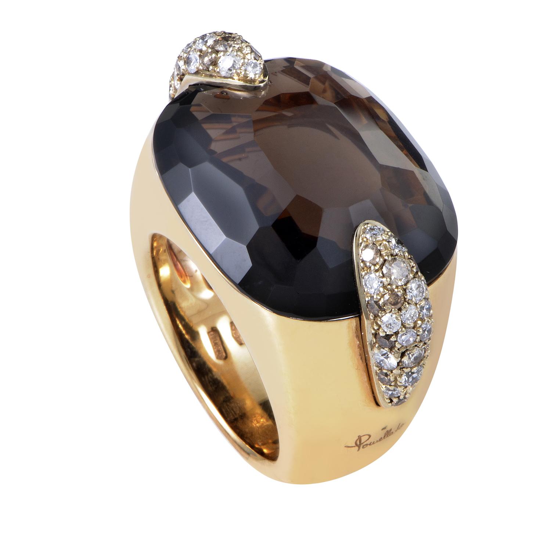 Pin Up 18K Yellow Gold Diamond & Smoky Quartz Ring A.A504BR6QF