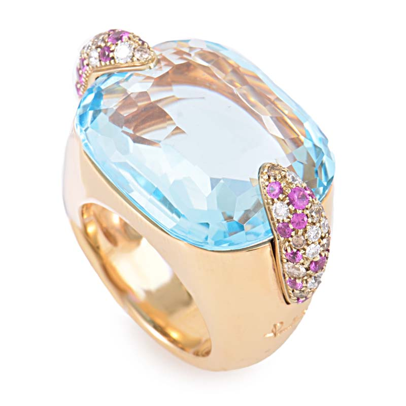 Pin Up 18K Rose Gold Topaz & Pink Sapphire Ring A.A504BR6ZROY