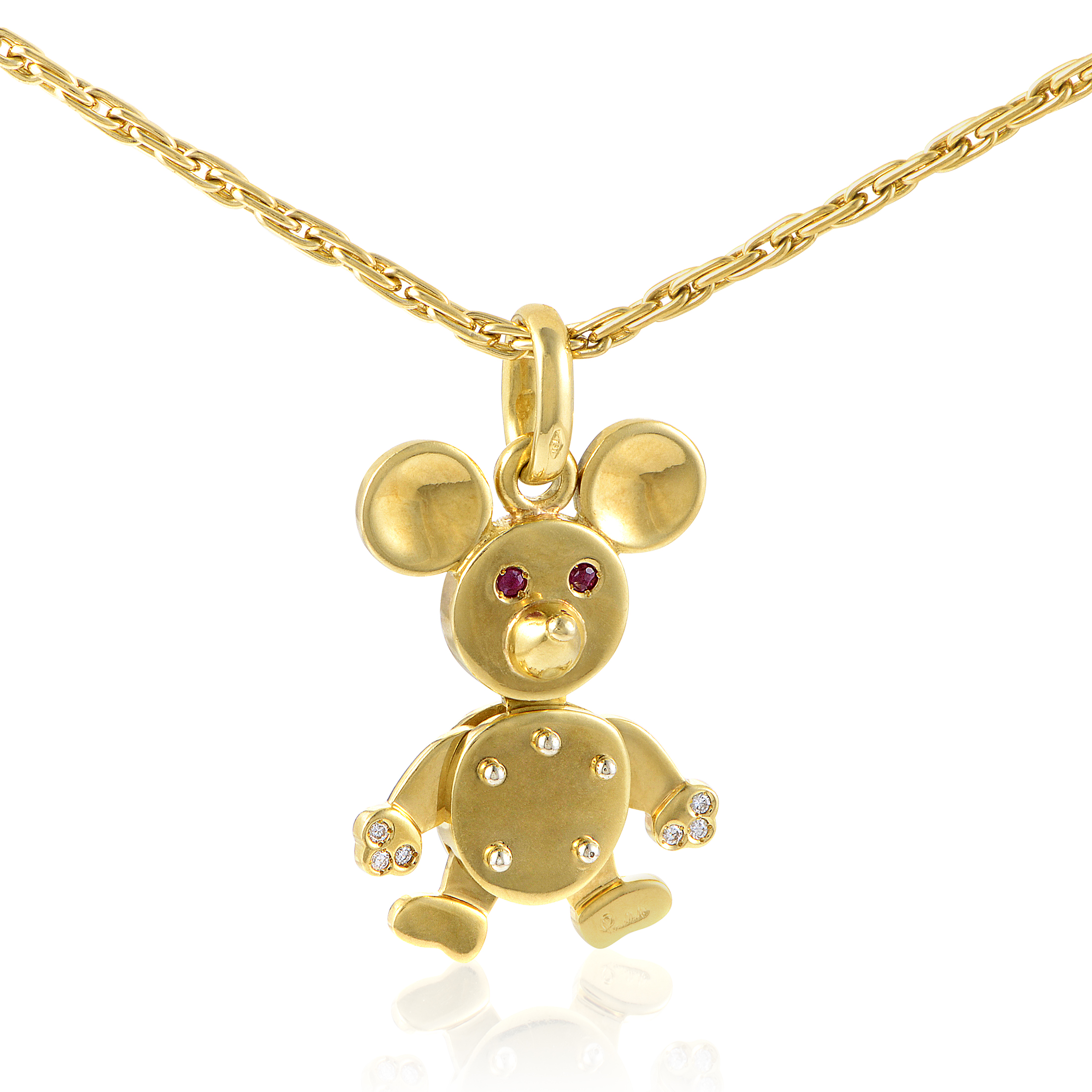 Pomellato Women's 18K Yellow Gold Diamond & Ruby Mouse Pendant Necklace