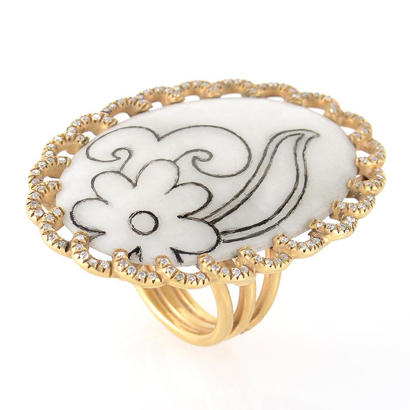 18K Yellow Gold White Quartz and Diamond Ring