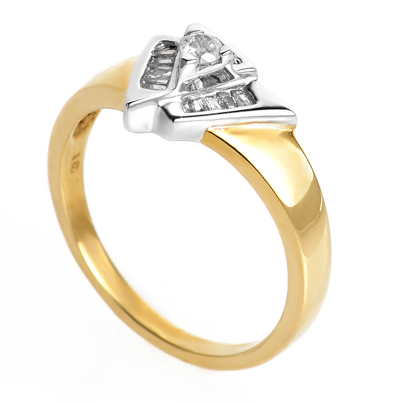10K Yellow and White Gold Diamond Ring