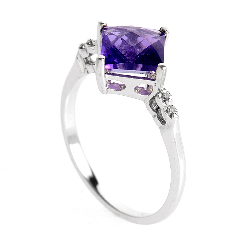 10K White Gold Diamonds and Amethyst Ring PSAG05-081712