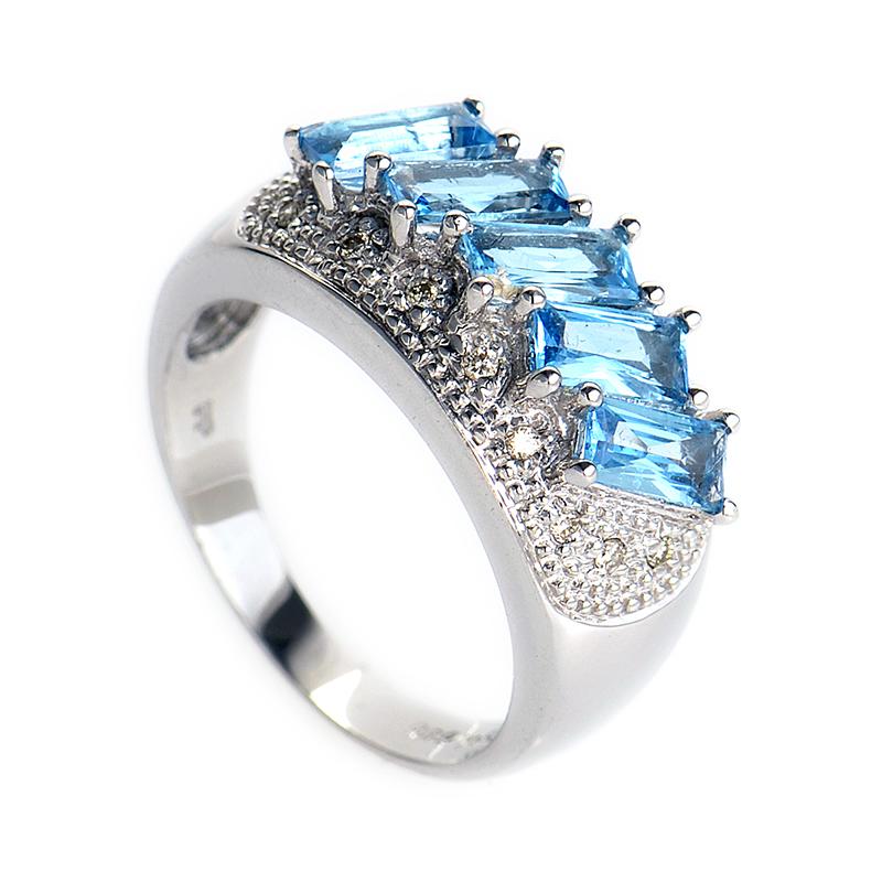 14K White Gold Multi Emerald Cut Topaz Ring