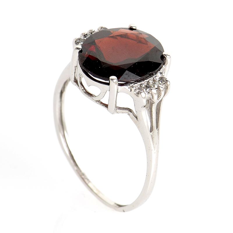 10K White Gold Garnet Diamond Ring LC1-01291G