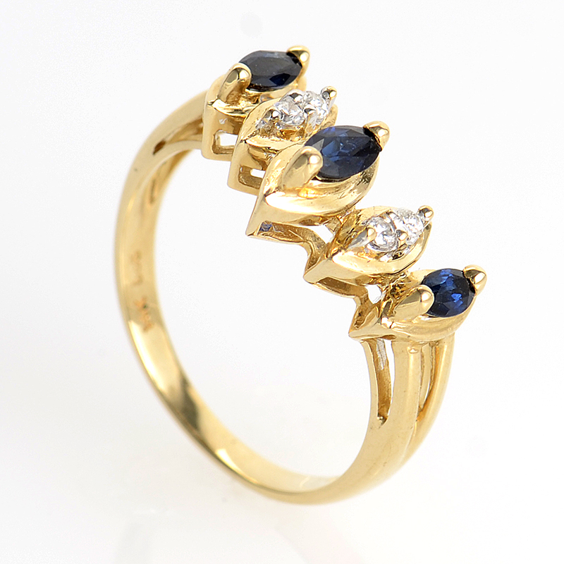 14K Yellow Gold Sapphires and Diamonds Ring PSAG14-082412