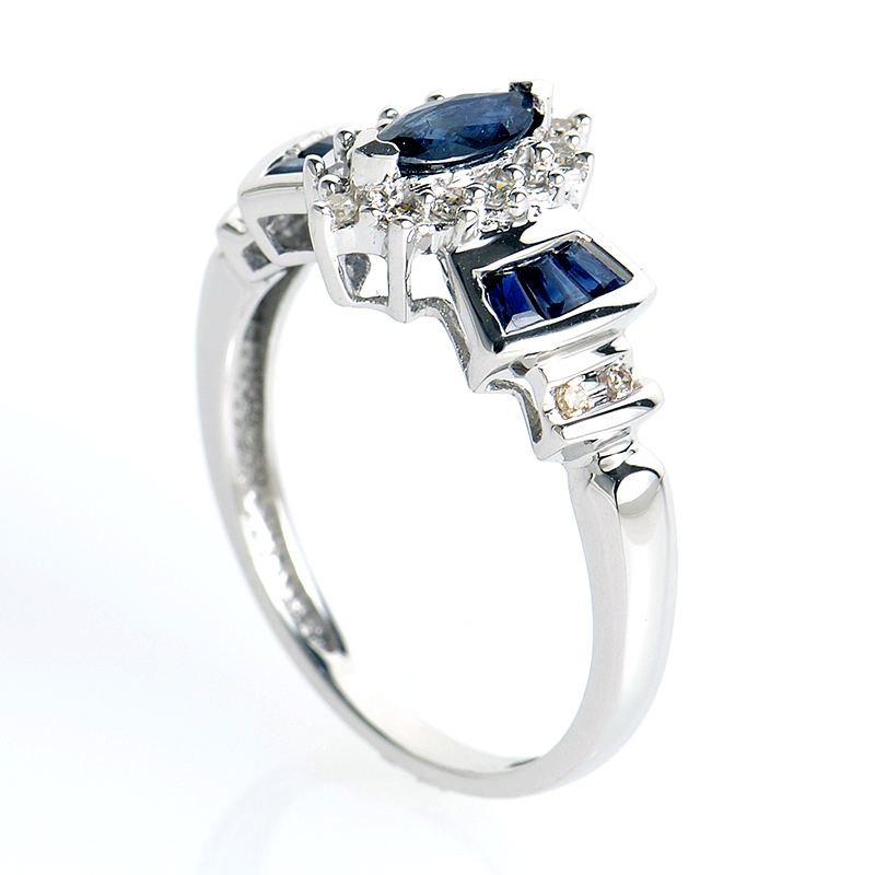 14K White Gold Sapphires and Diamond Ring